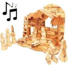"""11"""" Olive Wood Musical Nativity with Detailed Figurines - Made in Israel"""