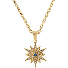 Star of Bethlehem' 14k Gold Pendant with Diamonds and Sapphire