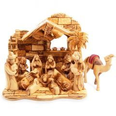 Musical 'Faceless' Nativity Scene Set from Olive Wood with Camel