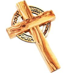 """Olive Wood Celtic Cross with 'God Bless Our Home' Cut-Out - 9"""""""