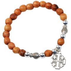 Olive Wood Rosary Bracelet with Metal Fishes and 'Jerusalem Cross'