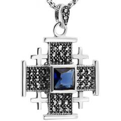 'Jerusalem Cross' Necklace with Marcasite in Sterling Silver - Blue