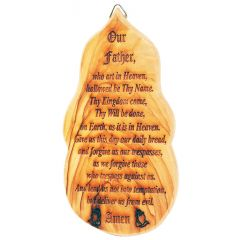 'The Lord's Prayer' Wall Hanging made from Olive Wood in Israel