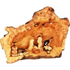 Carved Nativity Cave with Fixed Figurines - Olive Wood Branch - Med