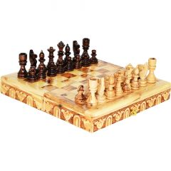 """Chess Board Set - Hand Made in Israel from Olive Wood - 10"""""""