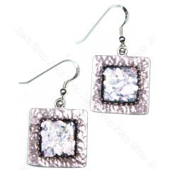 'Roman Glass' Hammered Silver Earrings - Square