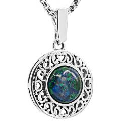 'Solomon Stone' Round Filigree Sterling Silver Necklace from Israel