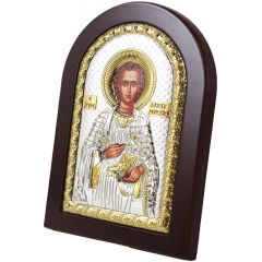 Saint Panteleimon Icon - Silver and Gold Plated with Wood