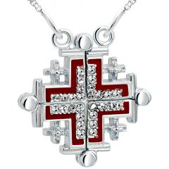 Opening 'Jerusalem Cross' with Zircon in 925 Silver Necklace - Red