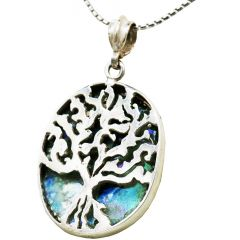 Roman Glass 'Tree of Life' Sterling Silver Oval Pendant - Made in Israel