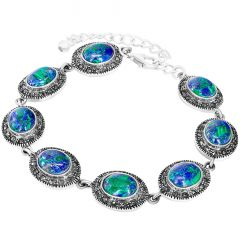 Solomon Stone Bracelet with Marcasite - Sterling Silver - Made in Israel