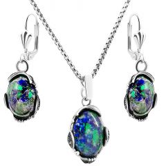 'Solomon Stone' Ornate Sterling Silver Oval Jewelry Set from Israel