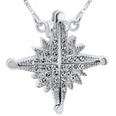 Star of Bethlehem' Opening Necklace in Sterling Silver with Zircon