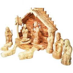 Nativity Creche Set from Olive Wood - Made in Bethlehem