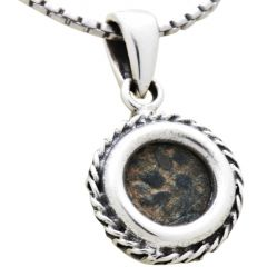 Widow's Mite Coin In Round Silver Decorated Necklace