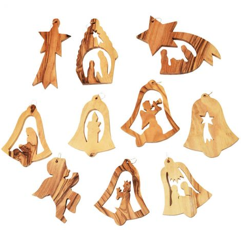 Pack of 10 Olive Wood Christmas Tree Ornaments