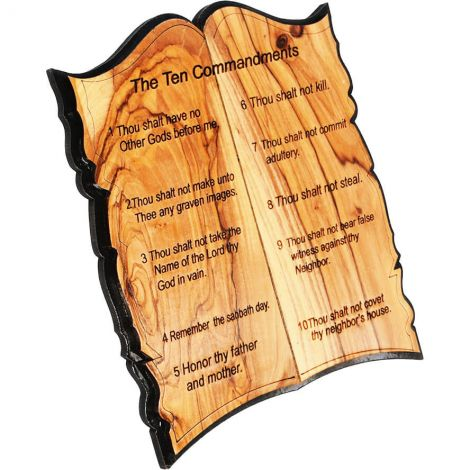'The Ten Commandments' Olive Wood Plaque - Free Standing - Made in Israel