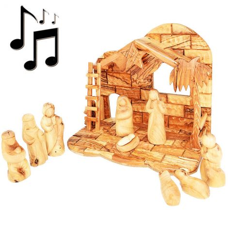 """Musical Nativity with Faceless Figurines from Olive Wood in Bethlehem - 11"""""""