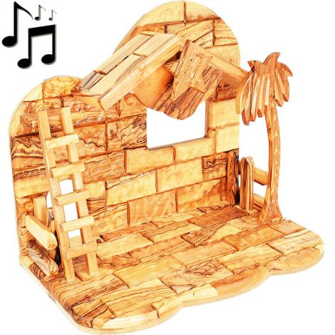 Nativity Stable Only - Olive Wood from Bethlehem with Music Box - 11""