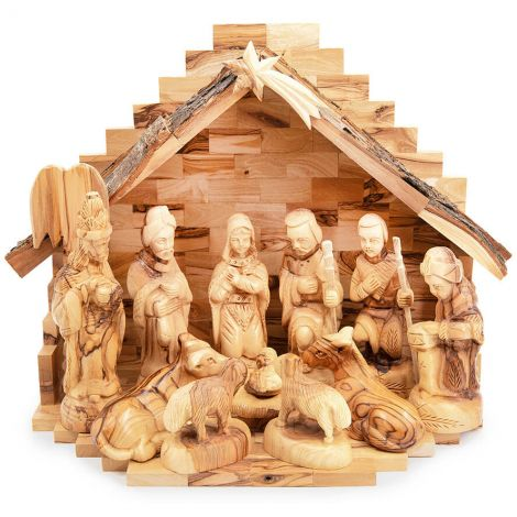 Christmas Olive Wood Nativity Scene with Bark Roof - 12 inch
