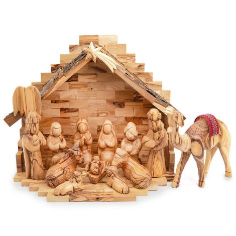 Natural Olive Wood Nativity - Faceless Figures and Camel - 12 inch
