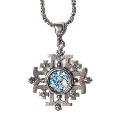 Silver 'Jerusalem Cross' Necklace with Roman Glass Center