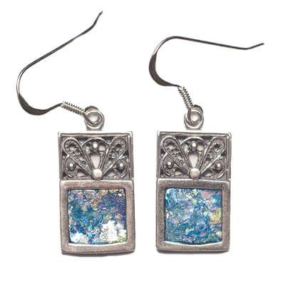 Roman Glass' Set in Decorated Sterling Silver Rectangle Earrings