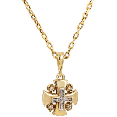 The Gospel 'Jerusalem Cross' in 14k Gold with Diamonds Pendant