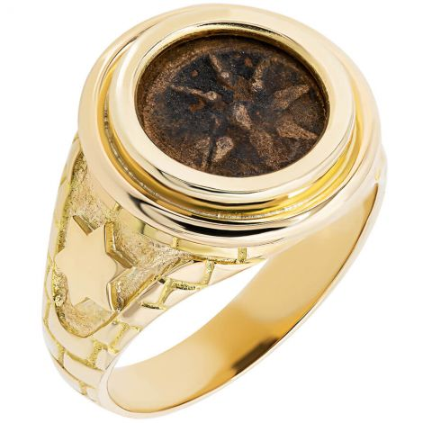 Widow's Mite Coin in 'Star of David' 14k Gold Ring - Jerusalem Walls