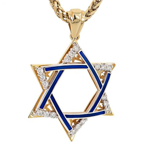 Large 'Star of David' 14k Gold Diamond Pendant with Blue Enamel