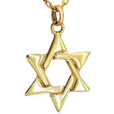 Star of David' 14k Gold Interwoven Necklace - Made in Israel