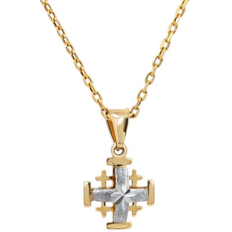 2 Tone 'Jerusalem Cross' 14k Gold Pendant with Star Engraving