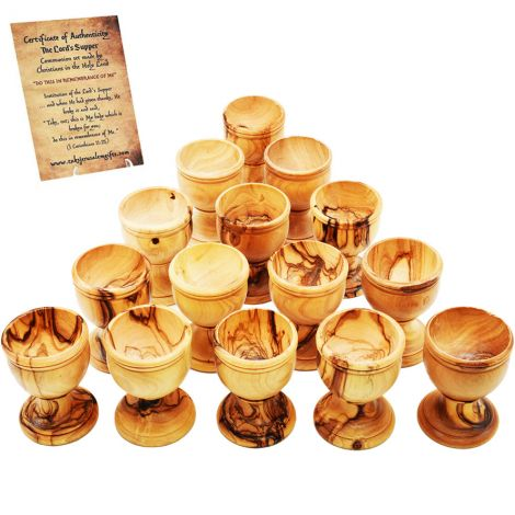Church Supplies - Bulk Olive Wood Cups with Stem from Israel - 15 pieces