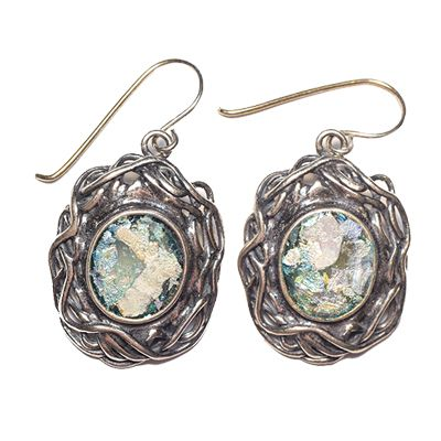 Authentic 'Roman Glass' Earrings in Decorated Oval Silver Frame