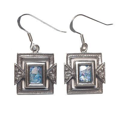 Silver Roman Glass Earrings (Rectangle)