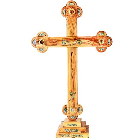 """Large Standing Olive Wood Cross - Mother of Pearl and Incense - 24"""""""