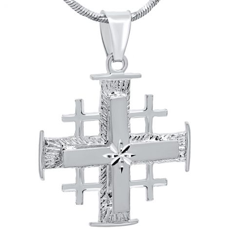 Jerusalem Cross' with 'Bright Morning Star' Sterling Silver 3D Pendant