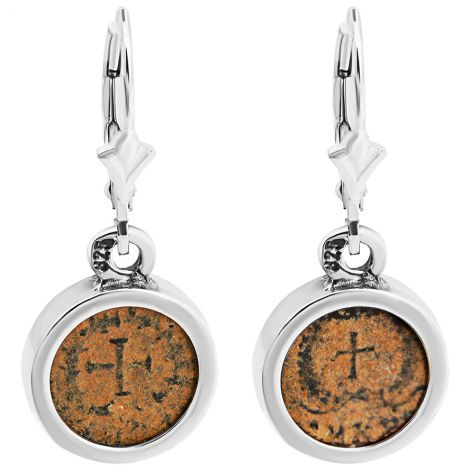 Ancient 4th Century Christian Coins in Silver Earrings - Made in Israel