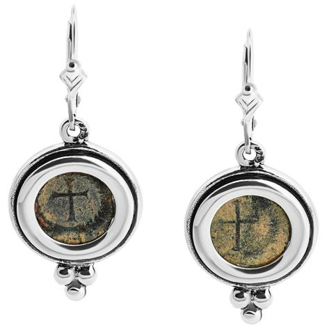 Authentic 4th Century Christian Coin in Silver Earrings from Israel