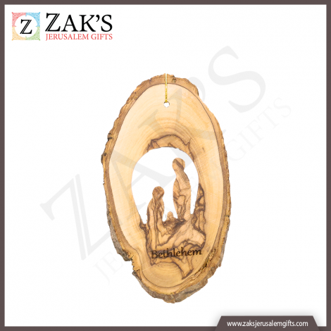 Holy Family Olive Wood Christmas Ornament