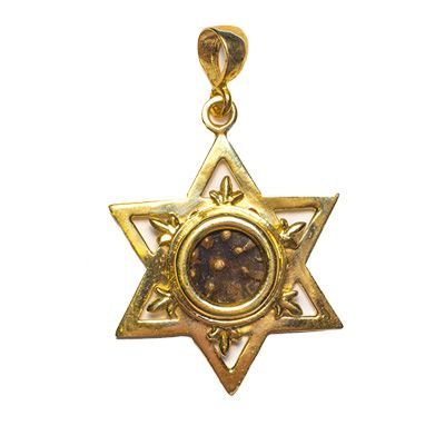 Widow's Mite Coin in 14k Gold 'Star of David' Pendant