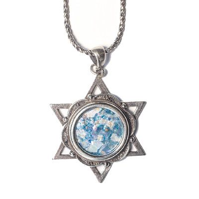 Authentic Roman Glass 'Star of David' Silver Pendant
