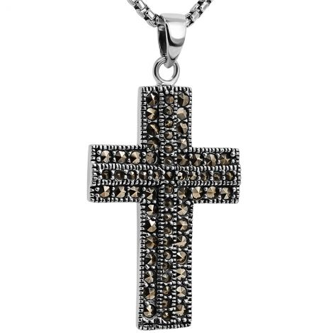 925 Sterling Silver Cross with Marcasite - Necklace from Jerusalem