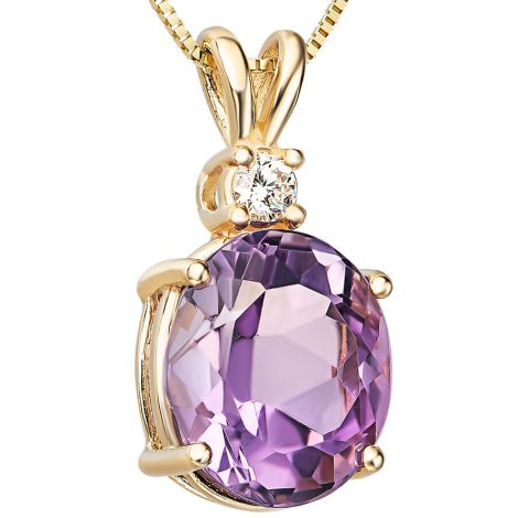 Amethyst with Diamond on a 14k Gold Prong Setting Pendant