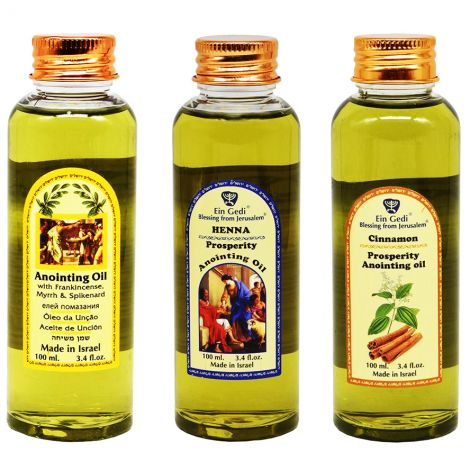 Powerful 'Revelation' Anointing Oil set from Jerusalem - 3 x 100 ml
