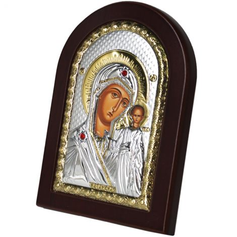 Virgin Mary & Baby Jesus' Icon - Silver Plated with Wood (side view)