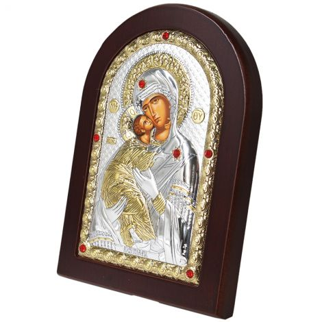 Blessed Virgin Mary & Baby Jesus' Jeweled Icon - Silver Plated with Wood
