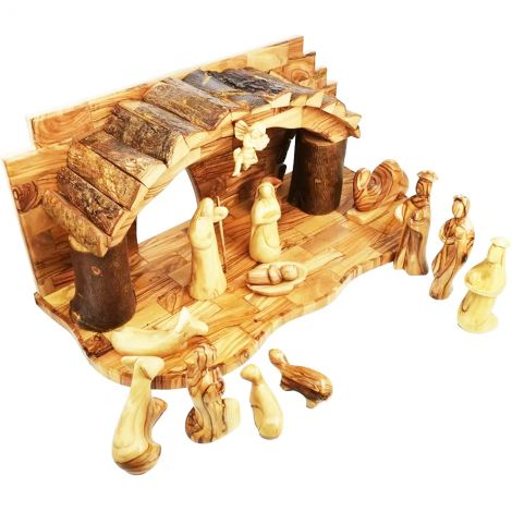 """Deluxe Christmas Nativity Set in Olive Wood - Faceless Figurines - 19"""""""