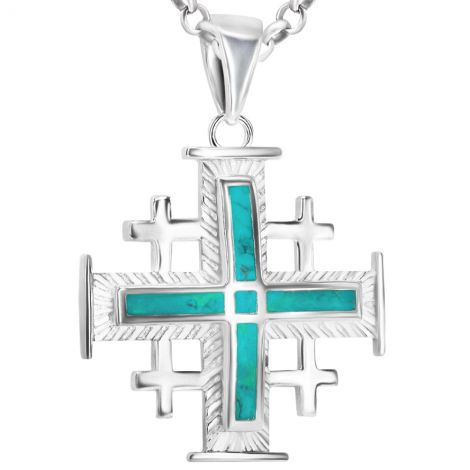 'Jerusalem Cross' with Arched Solomon Stone 925 Silver Necklace
