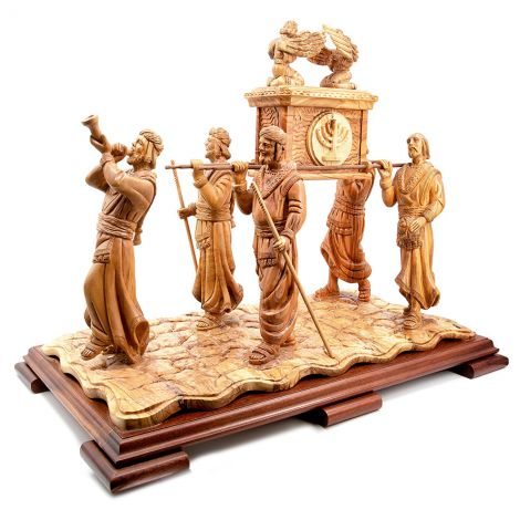 Enormous 'Ark of the Covenant with Priests' in Olive Wood - Made in Israel